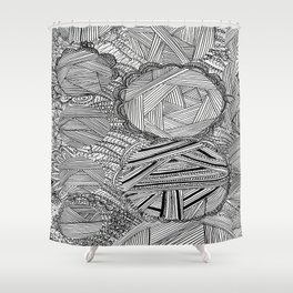 Black and White Geometric Illusion Shower Curtain
