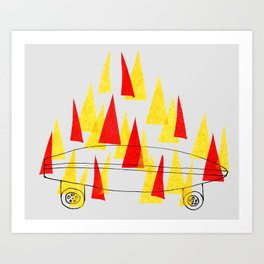 Flaming Skateboard Art Print