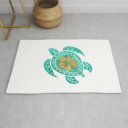 Maui Plumeria Watercolor Turtle Rug
