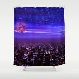 Spaceport Sunset Shower Curtain