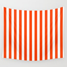 Orange Pop and White Vertical Cabana Tent Stripes Wall Tapestry