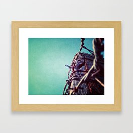 Barbed Wire Blue Framed Art Print