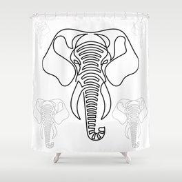 Minimalist Elephant (black on white) Shower Curtain