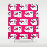 sewing Shower Curtains featuring Sewing Machine by The Wellington Boot