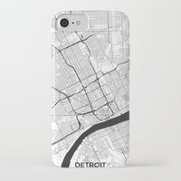 iPhone Cases featuring Detroit Map Gray by City Art Posters