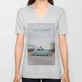 old blueish legendary car Unisex V-Neck