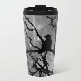 Black Bird Silhouette on Starry Night A492BW Travel Mug