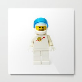 White astronaut Minifig with a beard and his visor up Metal Print