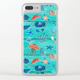Blue & Orange Under the Sea Clear iPhone Case