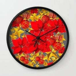 RED-GOLD ORNAMENTS POINSETTIAS  GREY ART Wall Clock