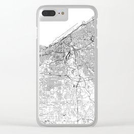 Cleveland White Map Clear iPhone Case
