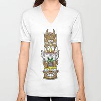 totem V-neck T-shirts featuring totem by ybalasiano