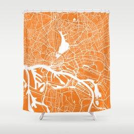 Hamburg map orange Shower Curtain