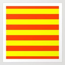 Bright Neon Orange and Yellow Horizontal Cabana Tent Stripes Art Print