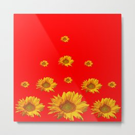 FLOATING GOLDEN YELLOW SUNFLOWERS RED COLOR Metal Print