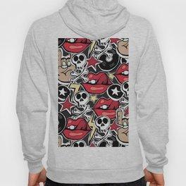 Seamles pattern. Crazy punk rock abstract background. Skulls, guitars, rock symbols. Hoody