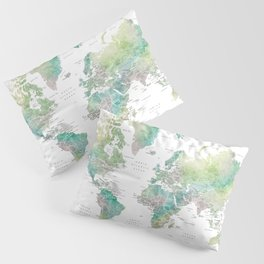 Watercolor world map in muted green and brown, with country capitals Pillow Sham