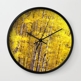 Yellow Grove of Aspens Wall Clock
