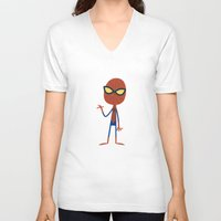 spider man V-neck T-shirts featuring Spider Man by Ariel Fajtlowicz