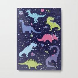 Dinosaurs in Space Metal Print