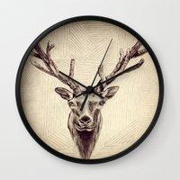 elk Wall Clocks featuring Elk  by Werk of Art
