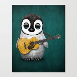 Musical Baby Penguin Playing Acoustic Guitar on Teal Blue Canvas Print