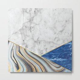 White Marble Blue Marble & Blue Granite #167 Metal Print