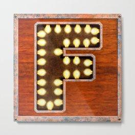 Monogram Letter F - Vintage Style Lighted Sign Metal Print