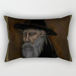 Dark Wizard portrait framed, black background Rectangular Pillow