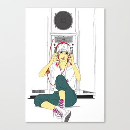 stereo-girl Canvas Print