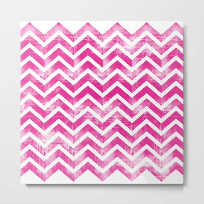 Maritime Pink White Chevron Herringbone ZigZag - Mix & Match Metal Print