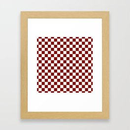 Vintage New England Shaker Barn Red and White Milk Paint Jumbo Square Checker Pattern Framed Art Print
