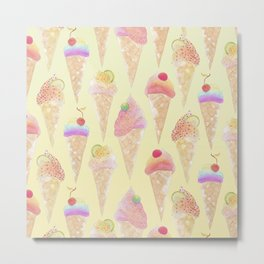 Ice Creams in a Cone - Yellow Metal Print