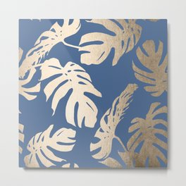 Simply Tropical Palm Leaves White Gold Sands on Aegean Blue Metal Print