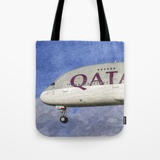 Qatar Airlines Airbus A380 Art Tote Bag