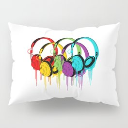 Colorful Headphones Pillow Sham