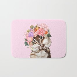 Baby Squirrel with Flowers Crown in Pink Bath Mat