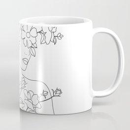 Minimal Line Art Woman with Wild Roses Coffee Mug
