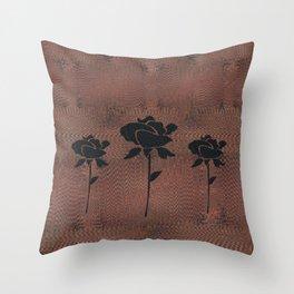 Three Black Roses Throw Pillow