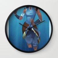 korra Wall Clocks featuring Korra Underwater by peony lang