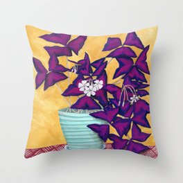 Purple Shamrock Houseplant Painting Throw Pillow