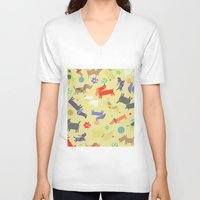 dogs V-neck T-shirts featuring Dogs by Amy Schimler-Safford