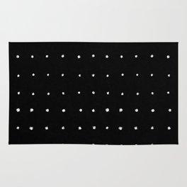 Dot Grid White on Black Rug