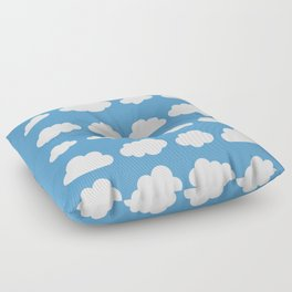 White clouds on a blue skies Floor Pillow