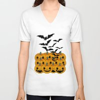 halloween V-neck T-shirts featuring halloween by mark ashkenazi