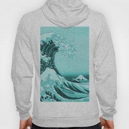 Aqua Blue Japanese Great Wave off Kanagawa by Hokusai Hoody