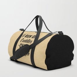 Cuddles, Chaos & Coffee Funny Quote Duffle Bag