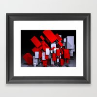 red and white boxes - landscapeformat Framed Art Print