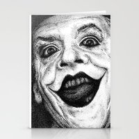 jack nicholson Stationery Cards featuring Jack Nicholson Joker Stippling Portrait by Joanna Albright
