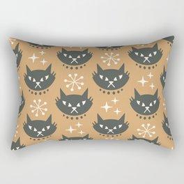 Retro Mid Century Modern Cat Pattern 333 Ochre Rectangular Pillow